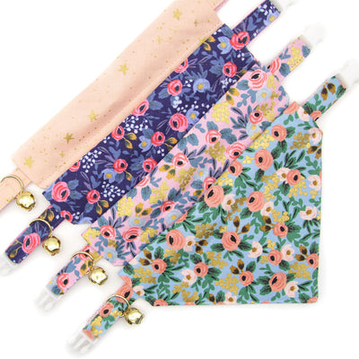 "Rifle Paper Co® Pet Bandana - ""Ophelia"" - Pink Floral Bandana for Cat + Small Dog / Slide-on Bandana / Over-the-Collar (One Size)"