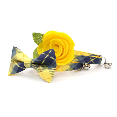 "Pet Bandana - ""Langston"" - Blue & Yellow Plaid Bandana for Cat + Small Dog / Slide-on Bandana / Over-the-Collar (One Size)"