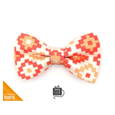 "Pet Bow Tie - ""Taos"" - Terracotta Orange Bow Tie for Cat / Southwestern, Boho, Tribal / For Cats + Small Dogs (One Size)"