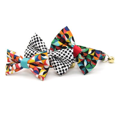 "Pet Bow Tie - ""Chroma Light"" - Earth Tone Geometric Bow Tie for Cat / For Cats + Small Dogs (One Size)"