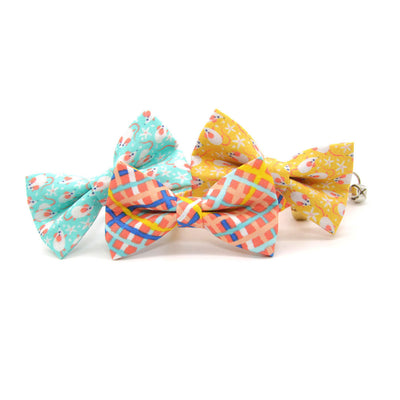 "Bow Tie Cat Collar Set - ""Wanderlust"" - Modern Waffle Cone Plaid Cat Collar w/ Matching Bowtie / Cat, Kitten, Small Dog Sizes"