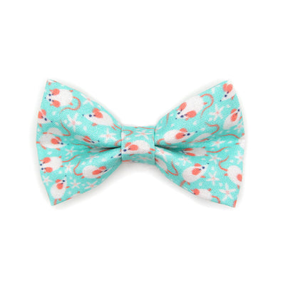 "Bow Tie Cat Collar Set - ""Mouse Mayhem - Mint Aqua"" - Mouse Cat Collar w/ Matching Bowtie / Cat, Kitten, Small Dog Sizes"