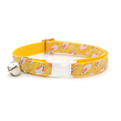 "Bow Tie Cat Collar Set - ""Mouse Mayhem - Goldenrod"" - Mice on Yellow Cat Collar w/ Matching Bowtie / Cat, Kitten, Small Dog Sizes"