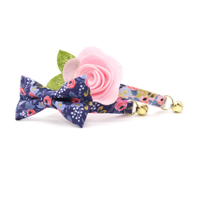 "Rifle Paper Co® Bow Tie Cat Collar Set - ""Daphne"" - Pink Roses on Navy Floral Cat Collar w/ Matching Bowtie / Cat, Kitten, Small Dog Sizes"
