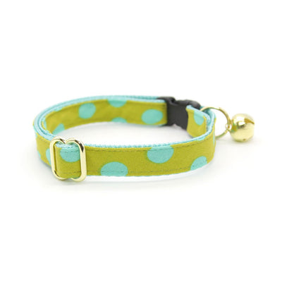 "Cat Collar - ""Pop Rocks - Chartreuse"" - Polka Dot Aqua & Green Cat Collar / Breakaway Buckle or Non-Breakaway / Cat, Kitten + Small Dog Sizes"