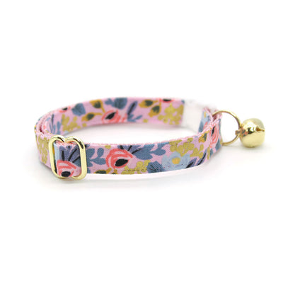 "Rifle Paper Co® Cat Collar - ""Ophelia"" - Periwinkle, Gold & Pink Floral Cat Collar / Breakaway Buckle or Non-Breakaway / Cat, Kitten + Small Dog Sizes"