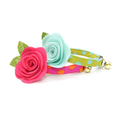 "Cat Collar + Flower Set - ""Pop Rocks - Chartreuse"" - Polka Dot Aqua & Green Cat Collar w/ Mint Felt Flower (Detachable)"