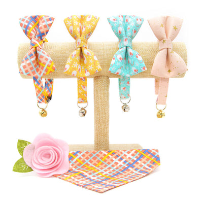 "Cat Collar + Flower Set - ""Wanderlust"" - Summer Waffle Cone Plaid Cat Collar w/ Yellow Felt Flower (Detachable)"