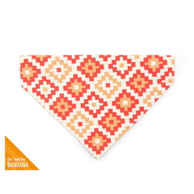 "Pet Bandana - ""Taos"" - Terracotta Bandana for Cat + Small Dog / Southwestern / Slide-on Bandana / Over-the-Collar (One Size)"