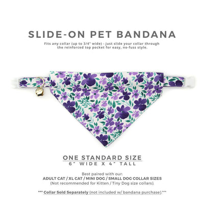 "Pet Bandana - ""Violet Fields"" - Purple Floral Bandana for Cat + Small Dog / Slide-on Bandana / Over-the-Collar (One Size)"