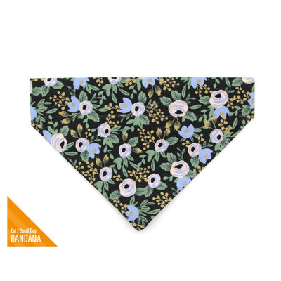 "Rifle Paper Co® Pet Bandana - ""Belladonna"" - Black Floral Bandana for Cat + Small Dog / Slide-on Bandana / Over-the-Collar (One Size)"
