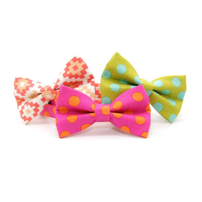 "Pet Bow Tie - ""Pop Rocks - Berry"" - Pink & Orange Polka Dot Bow Tie for Cat / Birthday / For Cats + Small Dogs (One Size)"