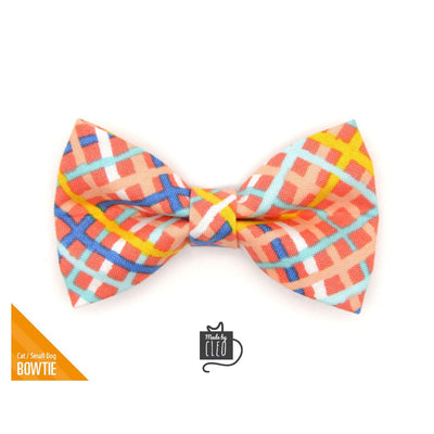 "Pet Bow Tie - ""Wanderlust"" - Modern Waffle Cone Plaid Bow Tie for Cat / Spring + Summer / For Cats + Small Dogs (One Size)"