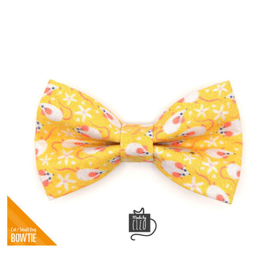 "Pet Bow Tie - ""Mouse Mayhem - Goldenrod"" - Mice on Yellow Bow Tie for Cat / For Cats + Small Dogs (One Size)"