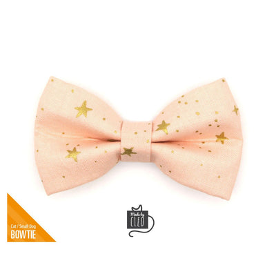 "Rifle Paper Co® Pet Bow Tie - ""Blush Etoile"" - Gold Stars on Peach Bow Tie for Cat / Wedding / For Cats + Small Dogs (One Size)"