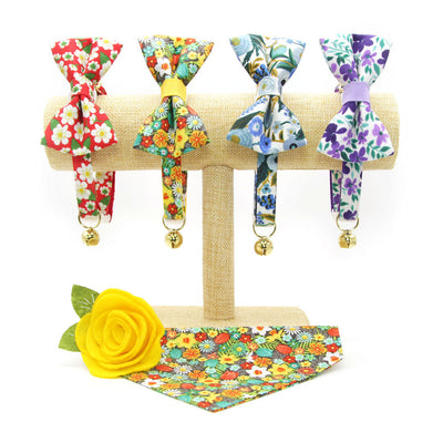 "Bow Tie Cat Collar Set - ""Flower Child"" - Retro 60s Floral Cat Collar w/ Matching Bowtie / Cat, Kitten, Small Dog Sizes"