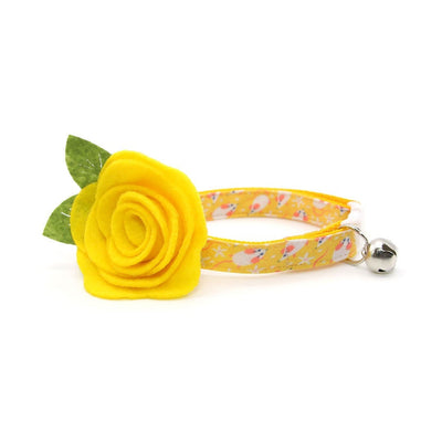 "Cat Collar + Flower Set - ""Mouse Mayhem - Goldenrod"" - Mice on Yellow Cat Collar w/ Yellow Felt Flower (Detachable)"