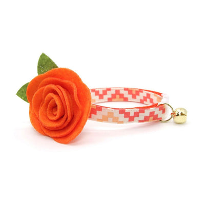 "Cat Collar + Flower Set - ""Taos"" - Terracotta Cat Collar w/ Orange Felt Flower (Detachable)"
