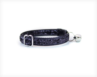 "Pet Collar - Cat Collar - ""Fame"" - Black Sparkle / Glitter"