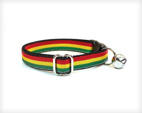 "Pet Collar - Cat Collar - ""Marley"" - Rastafarian Red, Yellow & Green Stripe"