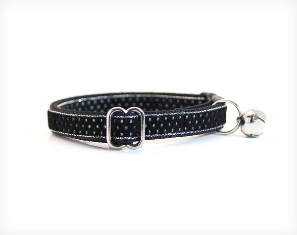 "Pet Collar - Cat Collar - ""Moondust"" - Black Velvet W/ Silver Dots"