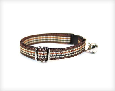 "Pet Collar - Cat Collar - ""Watson"" - English Brown Houndstooth Check"