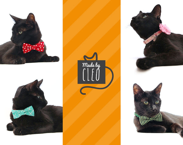 "Fall Bow Tie Cat Collar Set - ""Field Guide"" -  Autumn Plaid w/ Olive Green Collar + Matching Detachable Bow Tie"