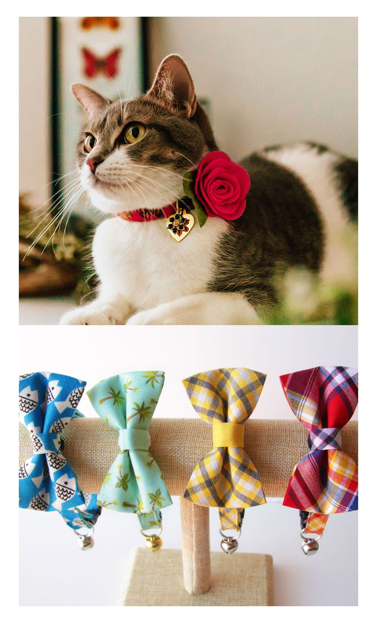Shop from 300+ unique cat collars, bow ties & accessories.