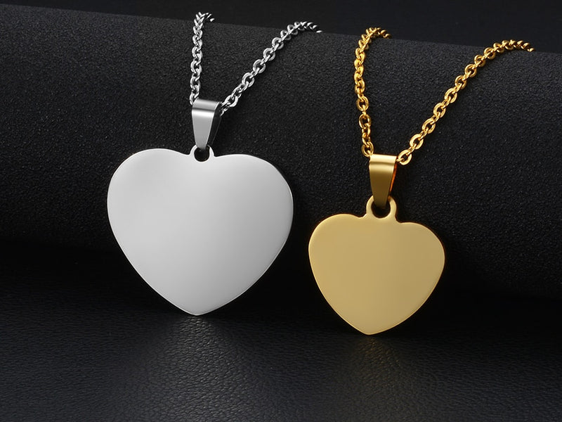 Women's Heart Photo Engraved Tag Necklace With Engraving Stainless Steel