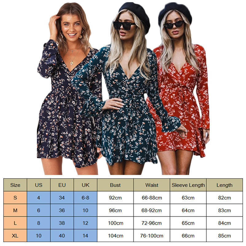 Floral Print Short Sleeve Wrap Dress