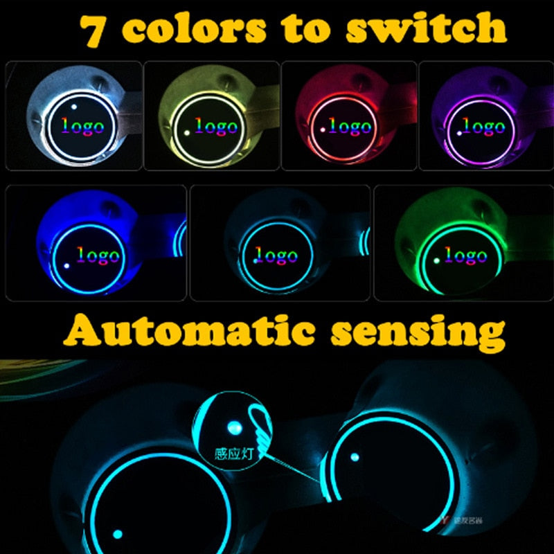 Colors Led Car Logo Cup Lights up Holder