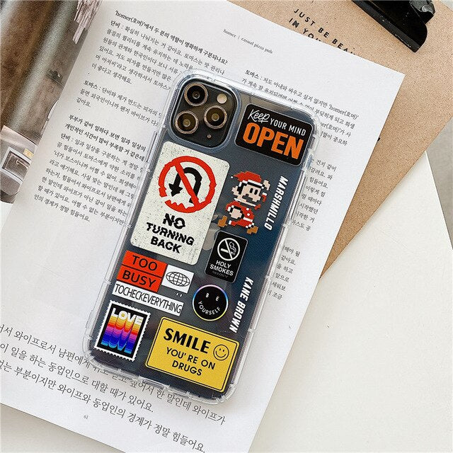 Creative retro label collage design iphone case