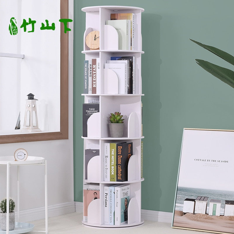 4-TIER Creative Floor Rotating Bookshelf