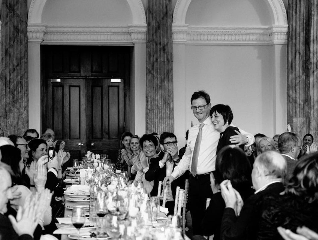 Sean and Francoise getting a round of applause from their guests