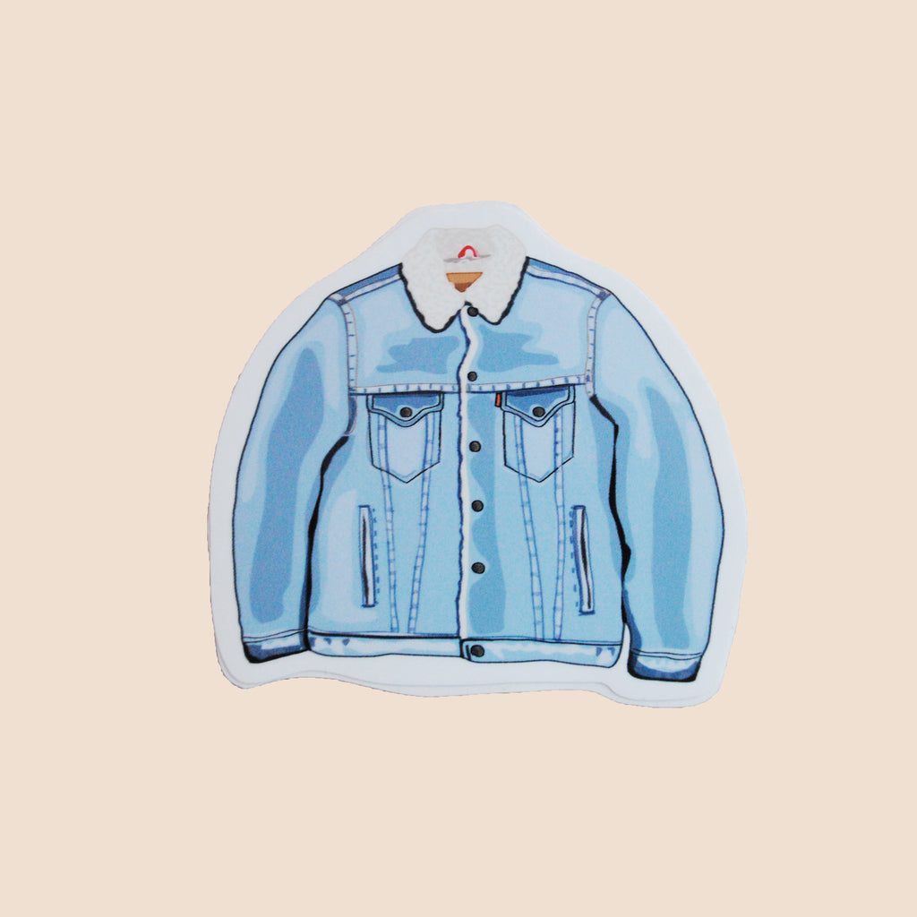 levis sherpa stickers blue jacket