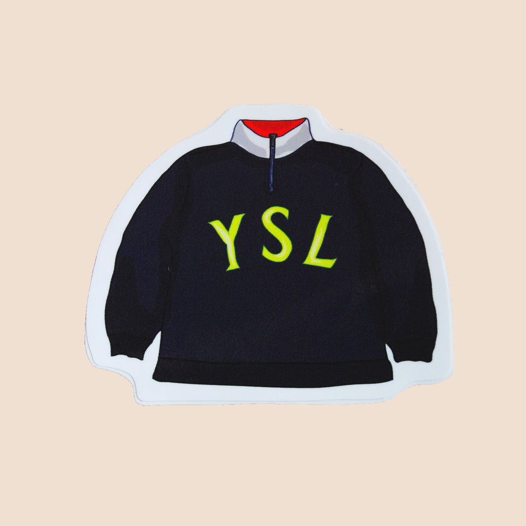 vintage YSL fleece sweater big logo sticker hand made