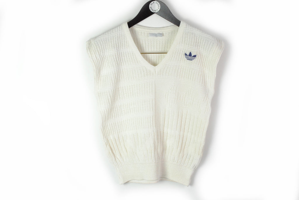 Vintage Adidas Vest Women's Medium / Large 90s retro style knitted wear sleeveless jumper pullover