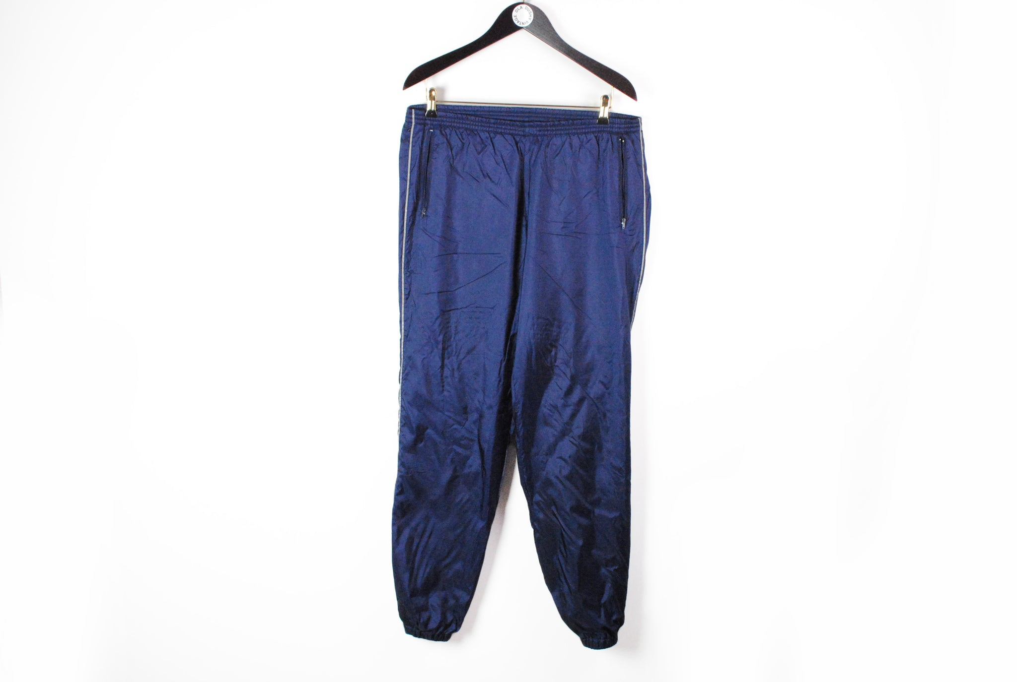 Vintage Adidas Track Pants Large navy blue 90s sport style retro wear