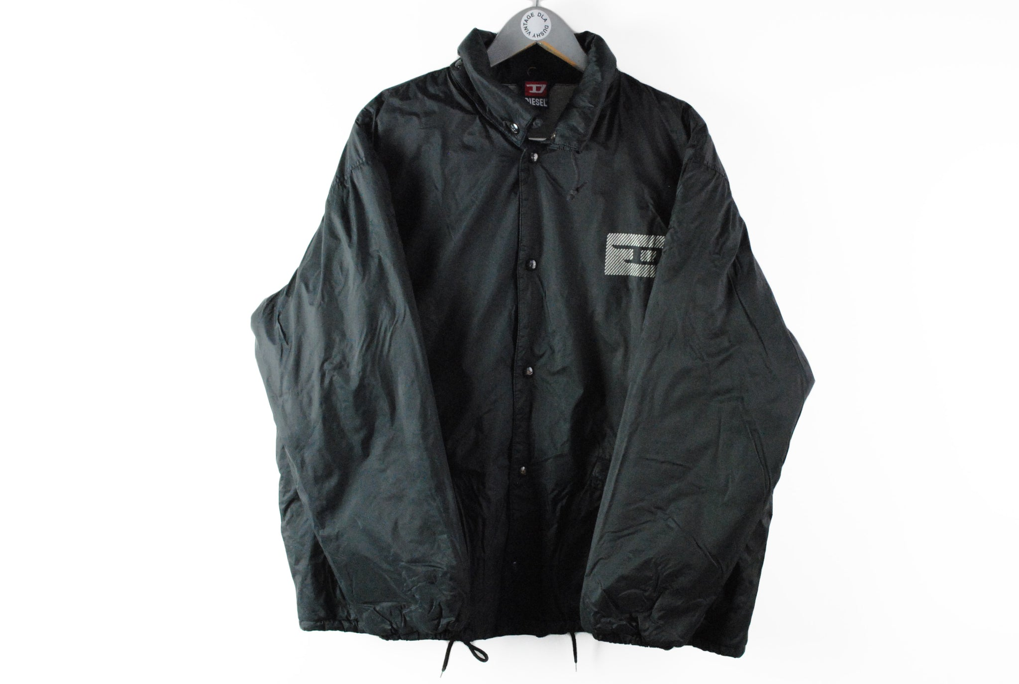 Vintage Diesel Jacket Large black coach retro style 90s Pank windbreaker