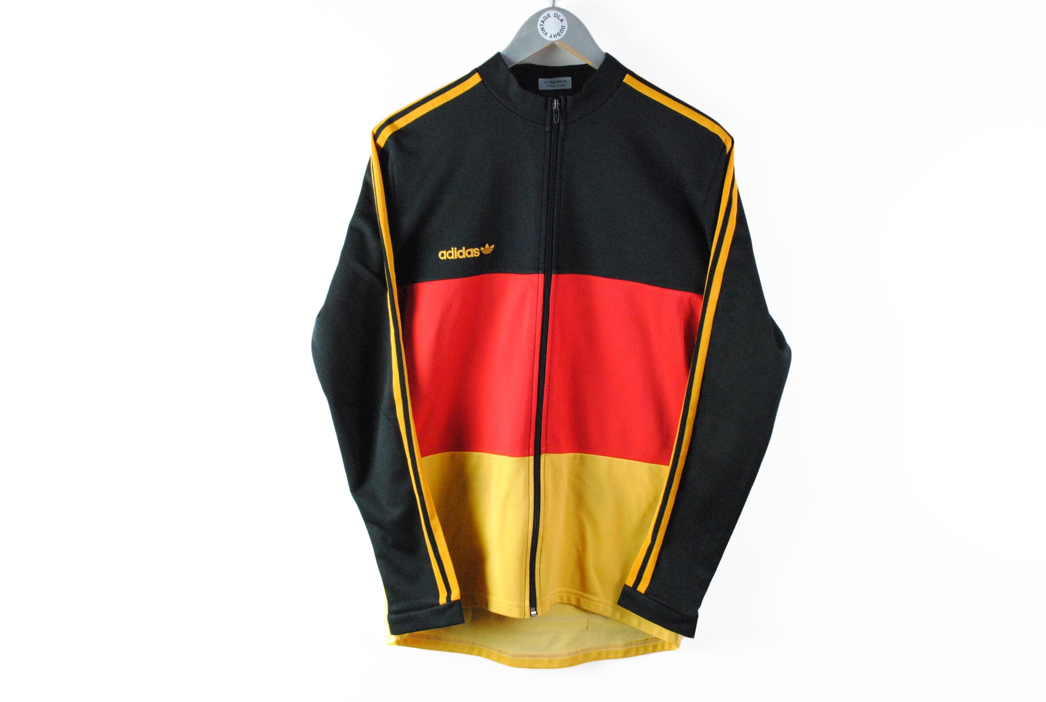 Vintage Adidas Bicycle Track Jacket Medium 90s retro style Germany team black red yellow flag multicolor full zip sweatshirt