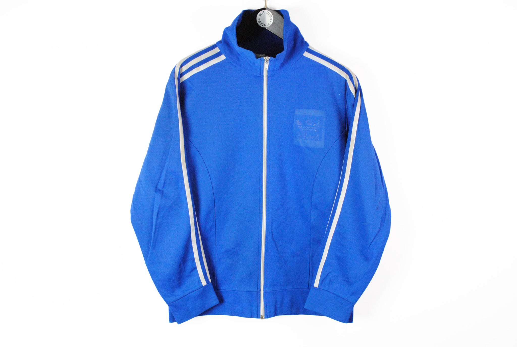 Vintage Adidas Track Jacket Small made in Hong Kong blue classic full zip cotton windbreaker