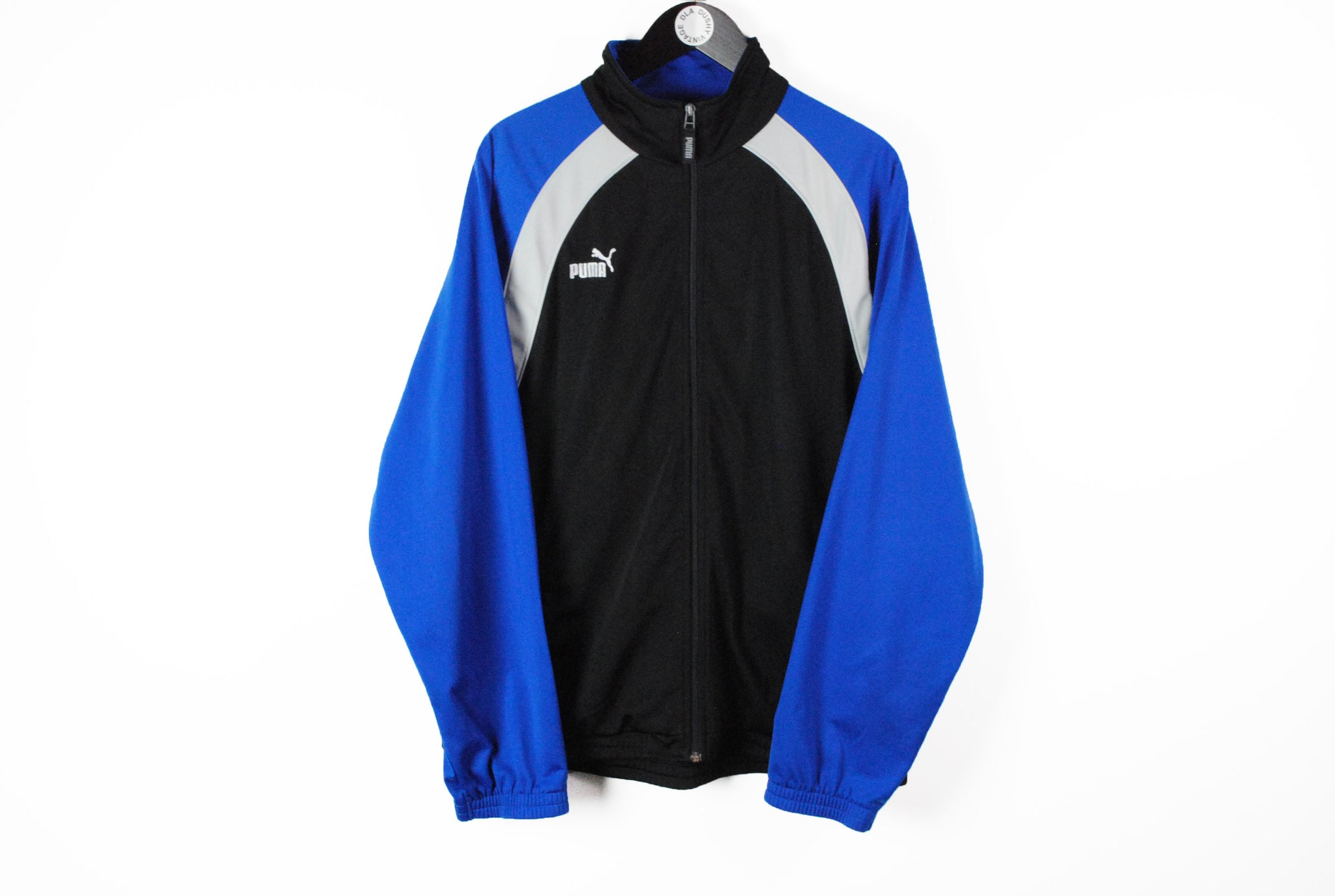 Vintage Puma Track Jacket Large black blue athletic 90s sport wear style