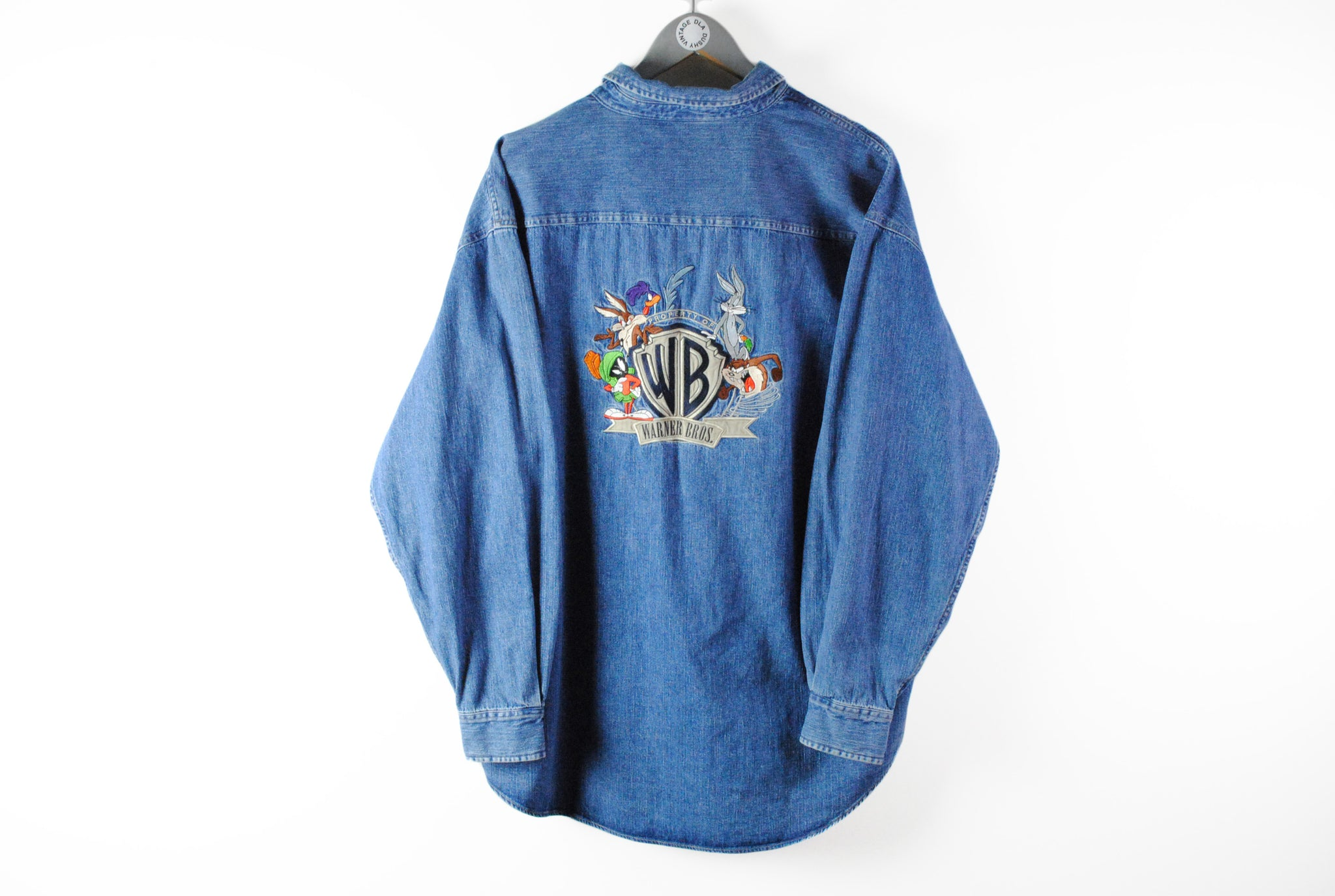 Vintage Warner Bros Denim Shirt XLarge brothers 90s jean shirt long sleeve retro style embroidery logo warner family
