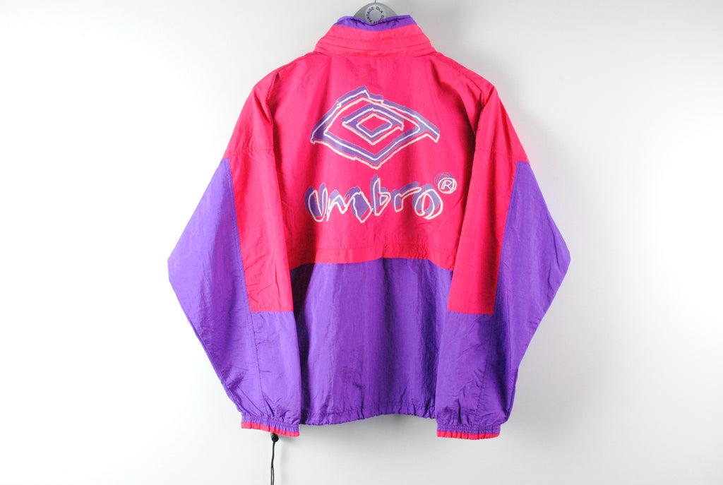 Vintage Umbro Windbreaker Jacket Small big logo purple pink 90s sport jacket