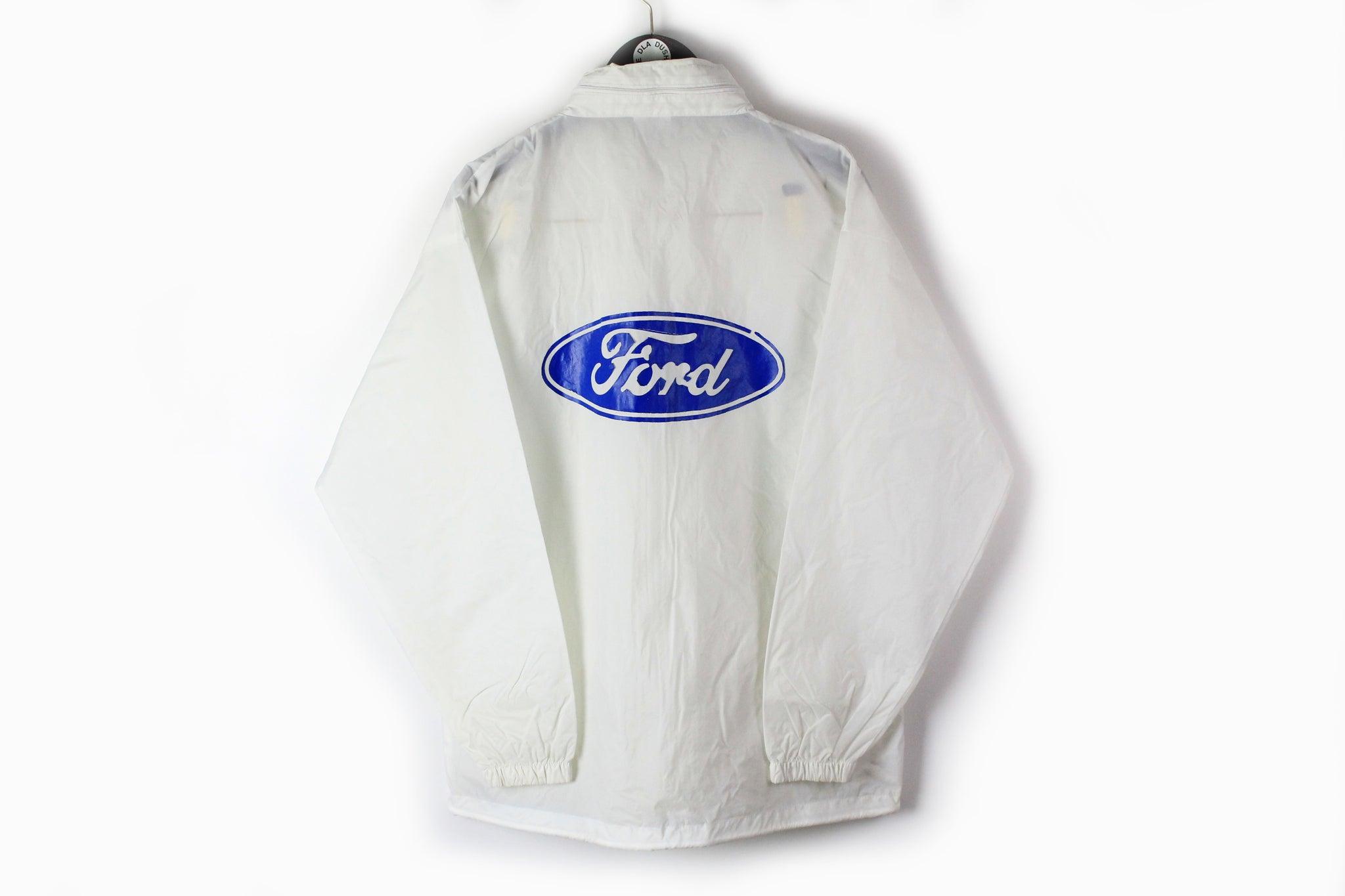 Vintage Ford Jacket Large white big logo blue 90s sport car USA style full zip light wear