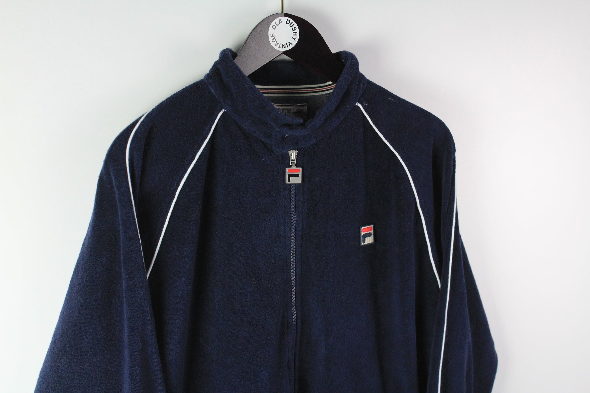 Vintage Fila White Line Track Jacket Medium