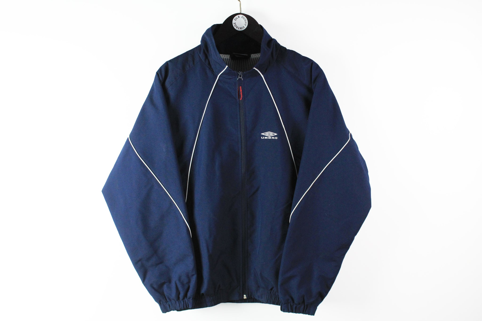 Vintage Umbro Track Jacket Small / Medium navy blue big logo 90s sport UK windbreaker