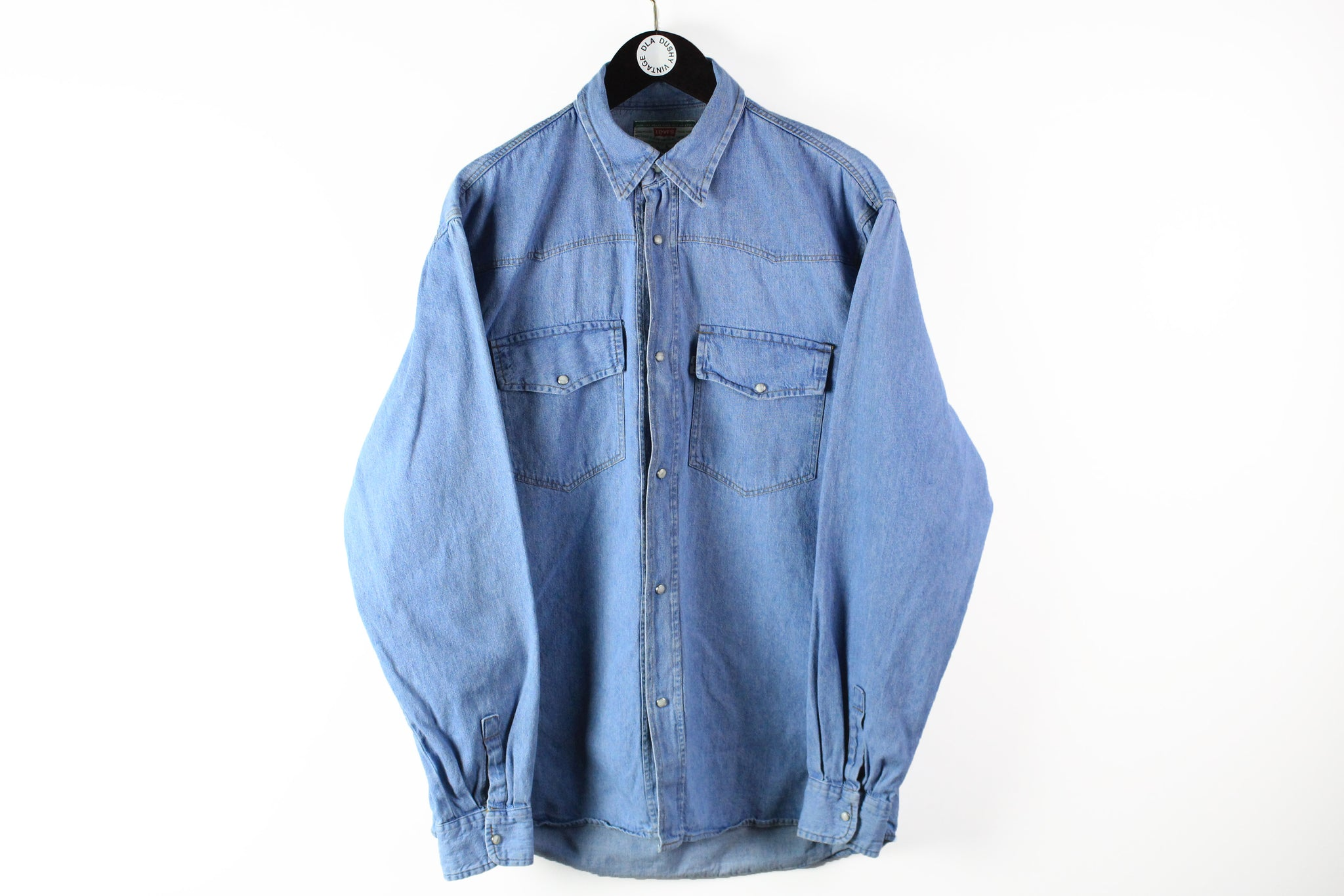 Vintage Levis Denim Shirt XLarge blue snap button 90s classic work wear