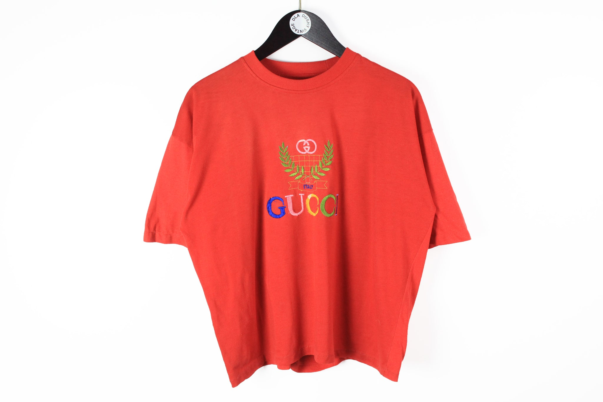 Vintage Gucci Bootleg T-Shirt Women's Medium red big multicolor logo 80s cotton tee