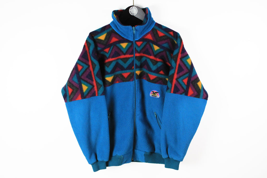 Vintage Salewa Fleece Full Zip Medium blue multicolor 90s sport windbreaker sweater